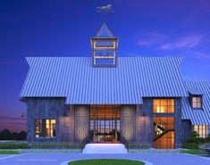 Kimmel Studio Architects designed this elegant barn house. It overlooks the horse stables of the client. Barn House Design, Modern Barn House, Modern Cottage, Garage Design, Exterior Design, Mountain House Plans, Barn House Plans, Barn Plans, Mountain Cabins