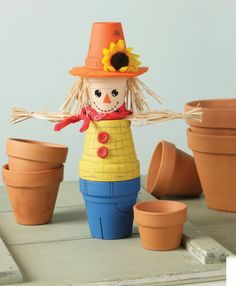 """Clay Pot Scarecrow These steps will help you complete your projects Supplies - Get the job done right.  two 4"""" dia. clay pots  two 3"""" dia. clay pots  acrylic paint (orange, peach, yellow, green,..."""