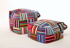 These eclectic square ottomans are woven on hand looms, using fabric cast-offs from the clothing industry. Last year alone we rerouted over 62 kilometres of material waste headed for African landfills. And because the fabric is 100% up-cycled and hand crafted, each bag has a unique, inimitable thumbprint. No two are quite alike. In all cases, their vibrant colours and artistry reflect the customs, culture and outlook of the artisans who weave them. Their natural sense of colour depicts the…