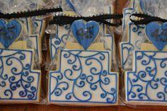 45th Sapphire Anniversary Cookie Favors... love this!! Anniversary Cookies, Anniversary Parties, Sapphire Anniversary, Cookie Favors, Birthday, Frame, Party, Decor, Sapphire