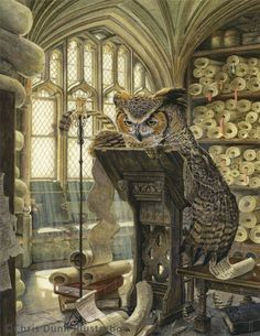 The Scribe by Chris Dunn Illustration A great horned owl writes in a scroll on a writing desk in his medieval study Behind the sun streams in through the leaded cloister… - Art ideas Fantasy Kunst, Fantasy Art, Magic Creatures, Owl Writing, Writing Desk, Les Moomins, Chris Dunn, Great Horned Owl, Owl Art