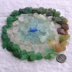 200 Sea Glass Shards Imperfections Art Mosaic by TidelineDesigns