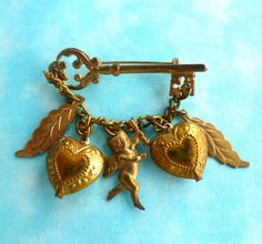 Valentine Brooch  Golden with Key hearts by BitsAndPiecesEtc, $8.00