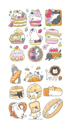 Stickers Kawaii, Cute Stickers, Little Doodles, Cute Doodles, Kitten Tattoo, Cute Kawaii Animals, Cute Anime Coupes, Kawaii Illustration, Journal Stickers