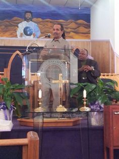 Preaching to a group of men @M T Olive Baptist Church, East Orange NJ
