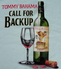 NWT Tommy Bahama L Mens T-Shirt Call For Backup Green Pin Up Girl Wine SS Crew #TommyBahama #GraphicTee
