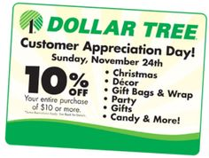 Dollar Tree: 10% Off Entire $10 Purchase on 11/24 Only – Hip2Save