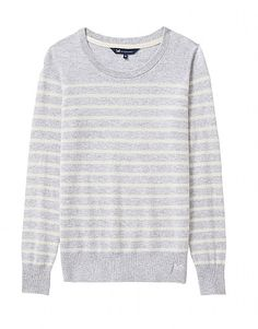 Women's Merino Cashmere Blend Crew Neck Jumper in Grey Marl/White Linen from Crew Clothing Crew Clothing, Clothing Company, Jumper, Men Sweater, Striped Knit, Best Sellers, Merino Wool, Cashmere, Crew Neck