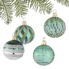 Set of 4 Glitter Design Tonal Green Ball Ornaments in Christmas Ornaments | Crate and Barrel