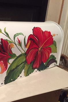 Hand Painted  rural Mailbox Flowers Red Hibiscuses by OlenkasArt