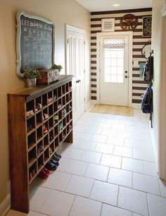 love the shoe cubby (it's an old post sorting shelf unit ... where to find one?)