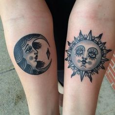 ... pale blue old school sun and moon tattoo on forearms - Tattoo.wf