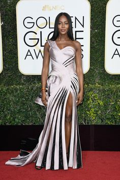 Naomi Campbell: Pink one shoulder gown (Versace) | Red carpet 74th Annual Golden Globe Awards, The Beverly Hilton Hotel, California on Jan 8, 2017