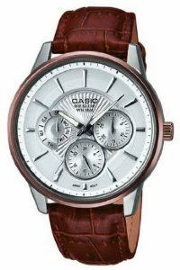 Casio Mens Beside Brown Genuine Leather Strap SilverTone Textured Dial >>> To view further for this item, visit the image link.