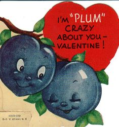Vintage anthropomorphic plum Valentine