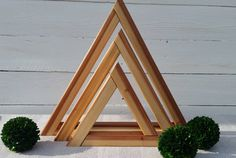 Redwood Decor Triangles - Geometric Home Decor - Natural Home Accents - Rustic…