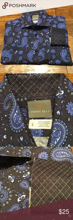 Men's Thomas Dean Dress Shirt Excellent condition!  Paisley print button up shirt with contrasting print collar and cuff. Thomas Dean Shirts