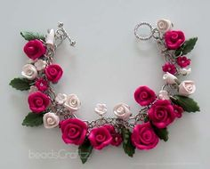 Fuchsia Pink Rose Bracelet  Polymer Clay