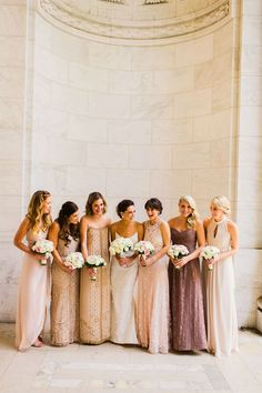 sparkling bridesmaids dresses: Mix nude and gold Bridesmaids to Look Gorgeous | http://www.itakeyou.co.uk/wedding/mix-and-match-bridesmaids #bridesmaids