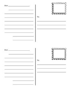 Postcard template, free - daily 5 work on writing Daily 5 Writing, First Grade Writing, Work On Writing, Kids Writing, Printable Postcards, Free Postcards, Free Postcard Template, Free Printable, Learning To Write