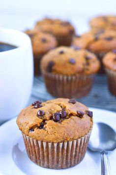These gluten free pumpkin chocolate chip muffins have the perfect amount of sweet and spice. They make the perfect fall breakfast. (gluten free and dairy free) Recipe from @whattheforkblog | whattheforkfoodblog.com | Sponsored by New England Coffee