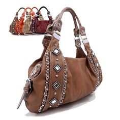 """It's the """"WOW"""" hobo!! Beautifully crafted with special mirror studs in the front. Also the chain accentuations make this bag a one of kind. The handle also has a bamboo hinge which adds more flavor to this wonderful hobo. The handle trim is made up of snake skin material which is perfect for this fall trend. The bag will illuminate you~"""
