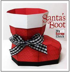 3D Santa Boot from Scrapbook paper
