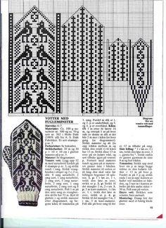 Billedresultat for selbu charts knitting Knitted Mittens Pattern, Knit Mittens, Knitting Socks, Hand Knitting, Knitting Charts, Knitting Stitches, Knitting Patterns, Bird Patterns, Fair Isle Knitting