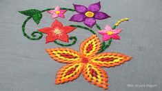 Hand Embroidery Videos, Embroidery Stitches Tutorial, Hand Embroidery Flowers, Flower Embroidery Designs, Different Flowers, Elsa, Pattern, Crafts, Youtube
