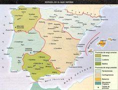 Hispania en el Bajo Imperio Romano Study Of Geography, Map Of Spain, Deep Time, Iberian Peninsula, Vintage Maps, Historical Maps, Ancient Rome, Roman Empire, Fun Facts