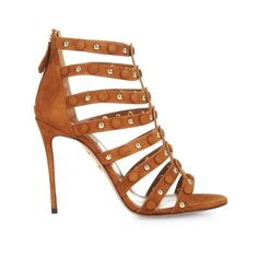Aquazzura Very Wild suede sandals ($1,267) ❤ liked on Polyvore featuring shoes, sandals, tan, tan suede shoes, suede leather shoes, multi-strap sandals, studded shoes and suede sandals