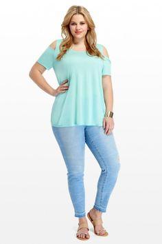 Plus Size Cold Shoulder A-Line Top | Fashion To Figure