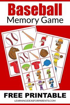 Memory Games For Kids, Matching Games, Educational Activities, Book Lists, Free Games, Summer Fun, Free Printables, Memories, Baseball