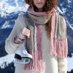Une écharpe en laine et tweed // scarf, wool, tweed, pink