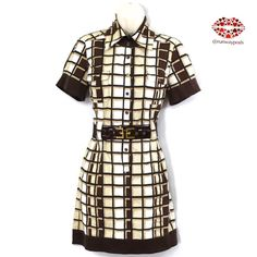 """⭐️HP⭐️PLAID BUTTON UP DRESS ▪️BeBe▪️ So elegant brown and cream dress/tunic. Can be worn with tights or skinny jeans. Features: 2 front pockets, side pockets, collar, Bebe logo in print, gorgeous buttons and elegant brown belt with gold hardware. Size:S. Measurements: armpit to armpit: 18"""". Length: 32"""". Waistline:28"""" ( can be adjust with the belt to the lowest 24"""". ᎦᎥᏞᏦ ᏆᏒᎥᎷs. Excellent condition Bebe Dresses Mini"""