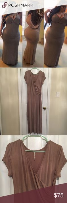Mauve/beige maxi faux-wrap dress One of my favorite dresses ever. Perfect shade of roses beige to not wash out skin. Only worn once for a picture, just haven't had a good reason to wear it in the past 2 years it's been in my closet. There is no size on the tag but it fit me when I was a full size 20 (very snug/bodycon style). Would fit much smaller sizes than that too. Super stretchy and soft fabric. Purchases at a boutique on Abbott Kinney in LA. Dresses Maxi