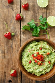 Fruit + Avocado = Awesome. Fresh Strawberry Guacamole with Lime and Cilantro.