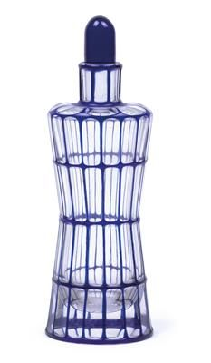 Otto Prutscher (1880 Vienna 1949), A liqueur bottle no. 61, Designed in 1910, executed by Meyr's Neffe, Adolf for the Wiener Werkstätte, clear glass with cobalt overlay and geometrical cut decoration, waisted body with domed stopper, height 19.5 cm, (B).