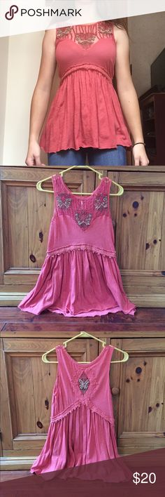 Free People Sleeveless Blouse Beautiful sleeveless blouse by Free People. Soft rust-red fabric with mesh, stitching, lace, and brown beading. Worn and washed once. A tiny bit of loose threading here and there, but it came like that. In excellent condition otherwise, size XS. Free People Tops Blouses