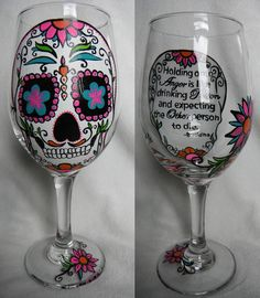 Custom Hand Painted Sugar Skull Wine Glass with Personal Message #SugarSkull #theWoodlandRoseGarden