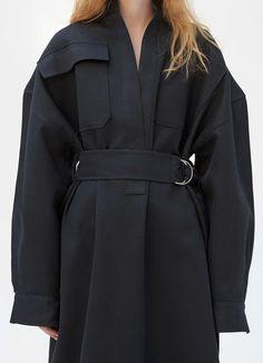 Robe ceinturée en coton et laine satinés | CÉLINE