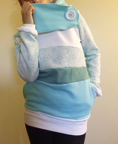FROSTED  - Hoodie Sweatshirt Sweater - Recycled Upcycled - One of a Kind Women - Small/Medium- MUNGO HOODIES