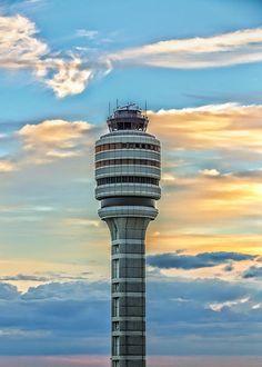 Air Traffic Control Tower at Orlando International Airport at Sunset.