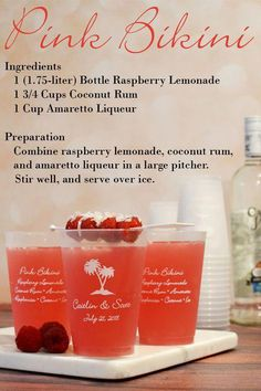 Shatterproof Frosted Plastic Cups (Set of The perfect alcoholic beverage for a destination wedding or reception on the beach, make your signature drink a Pink Bikini made with raspberry lemonade, coconut rum, and Amaretto. Serve your drinks in 1 Beach Drinks, Party Drinks, Summer Drinks, Cocktail Drinks, Fun Drinks, Healthy Drinks, Pool Drinks, Liquor Drinks, Alcoholic Drinks For The Beach