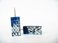 Cobalt, Indigo, Little Box, Bookends, Clay, Earrings, Shades Of Blue, Stainless Steel, Boucle D'oreille