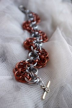 Chainmaille Wave Bracelet - Copper Chainmaille Jewelry. $20.00, via Etsy.