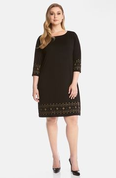 Karen Kane Black and Gold Stud Embellished Party Dress (Plus Size) available at #Nordstrom #Karen_Kane #Black_and_Gold #Stud #Studded #Embellished #Party #Dress #Plus #Size #Womens #Fall #Fashion