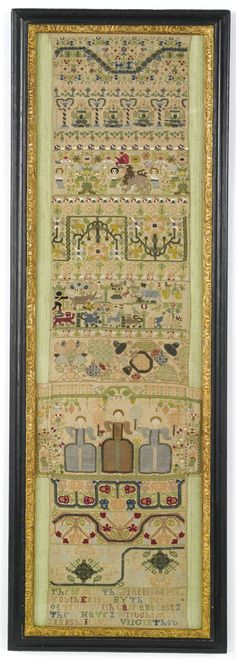 English Sampler ~ ca.1650 ~ silk and metallic-thread embroidery ~ the verse at the base worked in polychrome cross-stitch: These are the practis of mi Youth entitled by the name of truth with care and cost I these have I wrought and finished it with virgin thoug(ht), having run out of space, the last two letters being squeezed into the line above.