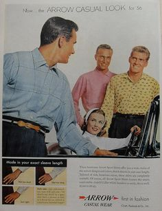 1950s Vintage Advertisement ARROW SHIRTS MEN FASHION ILLUSTRATION 1956 Menswear by Christian Montone, via Flickr