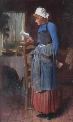.:. The Letter (1904). Carlton Alfred Smith (British, 1853-1946). Oil on panel.  Smith was a genre painter who frequently painted cottage interiors that conveyed a romantic image of domestic life at the end of the 19th Century. He exhibited at The New Watercolour Society and the Royal Academy from 1879, as well as in the provinces.